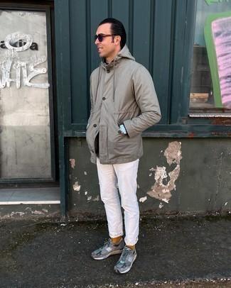 Men's Grey Shirt Jacket, Black Crew-neck Sweater, Light Blue Chambray Long Sleeve Shirt, White Jeans
