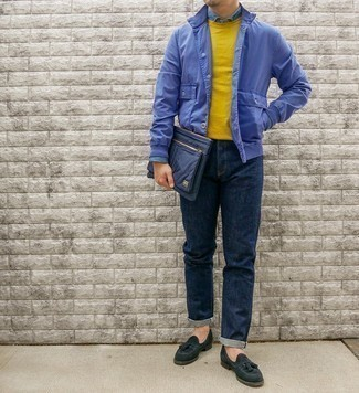 Blue Shirt Jacket Outfits For Men: If you're looking to take your casual look to a new level, marry a blue shirt jacket with navy jeans. To give your overall outfit a more elegant spin, why not complete this ensemble with dark green suede tassel loafers?