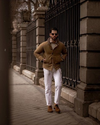 Beige Crew-neck Sweater Outfits For Men: A beige crew-neck sweater and white jeans matched together are a wonderful match. If you want to immediately spruce up this ensemble with footwear, why not complete your ensemble with a pair of brown suede oxford shoes?
