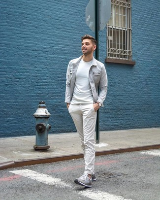 How to wear: grey shirt jacket, white crew-neck t-shirt, white chinos, grey low top sneakers