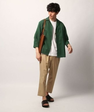 How to Wear a Dark Green Shirt Jacket For Men: We're loving how this smart combination of a dark green shirt jacket and khaki chinos instantly makes you look on-trend. A trendy pair of black leather sandals is an easy way to infuse a dash of stylish effortlessness into this outfit.