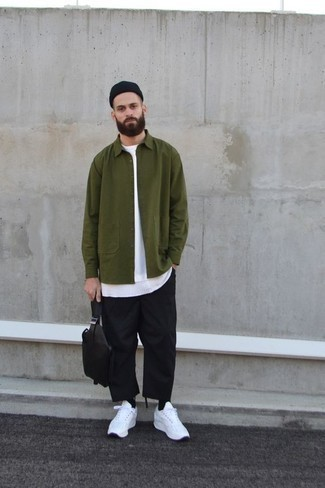 How to Wear White Athletic Shoes For Men: When the setting calls for a sophisticated yet knockout outfit, rock an olive shirt jacket with black chinos. Introduce white athletic shoes to the mix to easily amp up the cool of your getup.