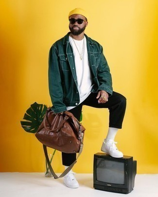 How to Wear a Yellow Beanie For Men: Pairing a dark green shirt jacket with a yellow beanie is a good idea for a relaxed casual but dapper outfit. Complete your outfit with a pair of white leather low top sneakers to make the getup slightly dressier.