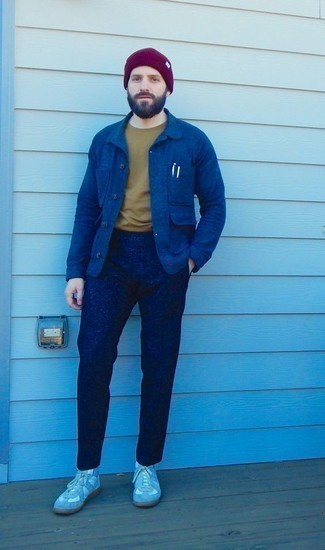 Purple Beanie Outfits For Men: A blue shirt jacket and a purple beanie matched together are a perfect match. Complete this look with grey suede high top sneakers and ta-da: this look is complete.