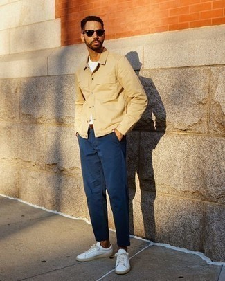 Men's Looks & Outfits: What To Wear In 2020: For an outfit that's worthy of a modern fashion-savvy gentleman and casually classy, rock a tan shirt jacket with navy chinos. For something more on the casually edgy side to round off your getup, complement your ensemble with white canvas low top sneakers.