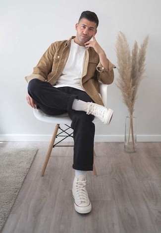 How to Wear a Jacket For Men: For an outfit that's worthy of a modern sartorial-savvy man and effortlessly smart, rock a jacket with black chinos. For something more on the cool and casual side to finish off this look, complete your look with a pair of beige canvas high top sneakers.