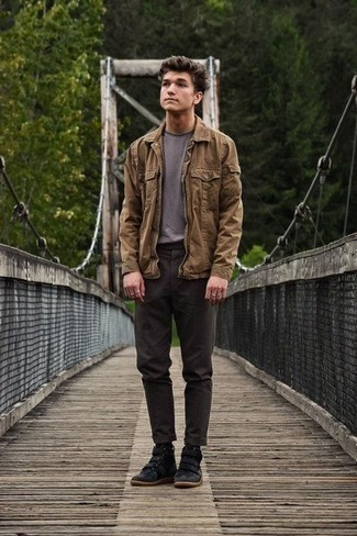 Charcoal Chinos Outfits: This combination of a brown shirt jacket and charcoal chinos is solid proof that a safe look doesn't have to be boring. Black suede high top sneakers can immediately dial down an all-too-classic outfit.