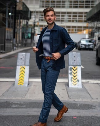 Navy Shirt Jacket Outfits For Men: This combo of a navy shirt jacket and navy chinos will be a true manifestation of your expertise in menswear styling. Let your sartorial chops really shine by finishing your ensemble with a pair of brown leather casual boots.