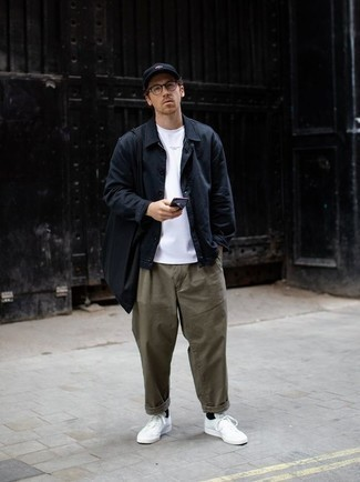 Men's Navy Shirt Jacket, White Crew-neck T-shirt, Olive Chinos, White Canvas Low Top Sneakers