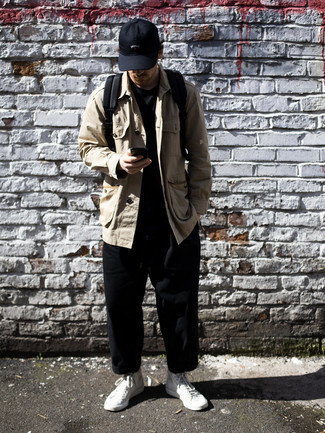 Black Baseball Cap Outfits For Men: Who said you can't make a stylish statement with an edgy ensemble? That's easy in a tan shirt jacket and a black baseball cap. White canvas high top sneakers are a tested footwear option here that's full of character.