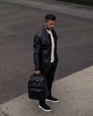 Black Leather Backpack Outfits For Men: Try pairing a black leather shirt jacket with a black leather backpack if you seek to look casual and cool without exerting much effort. A pair of black suede chelsea boots effortlessly kicks up the style factor of any ensemble.