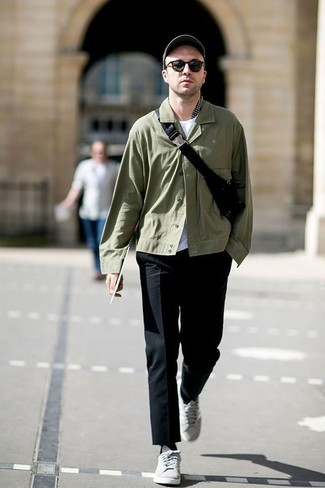 How to wear: olive shirt jacket, white crew-neck t-shirt, black dress pants, grey low top sneakers