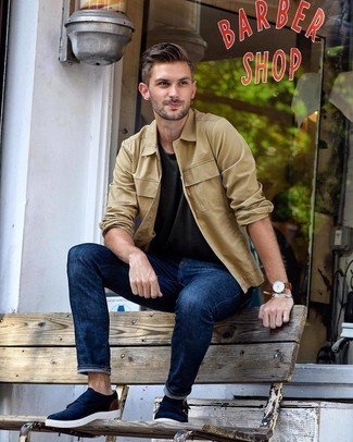 How to wear: tan shirt jacket, charcoal crew-neck t-shirt, navy jeans, navy suede double monks
