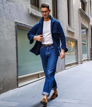 How to wear: navy wool shirt jacket, white crew-neck t-shirt, blue jeans, brown suede loafers