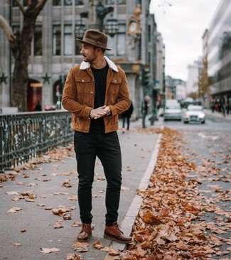 How to wear: tobacco shirt jacket, black crew-neck t-shirt, black jeans, brown leather casual boots