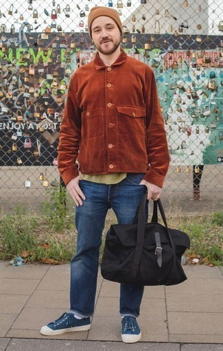 How to Wear a Tan Beanie For Men: Wear a tobacco corduroy shirt jacket and a tan beanie for a cool and fashionable outfit. Give a different twist to your outfit by wearing navy canvas low top sneakers.