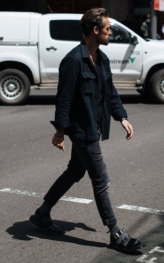 How to Wear Charcoal Socks For Men: Inject a casual touch into your daily styling arsenal with a black shirt jacket and charcoal socks. Does this outfit feel too dressy? Introduce a pair of black leather sandals to mix things up a bit.