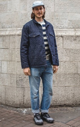 How to Wear a Navy Shirt Jacket For Men: If you're looking for a casual and at the same time dapper outfit, marry a navy shirt jacket with light blue jeans. Light blue athletic shoes are guaranteed to bring a sense of stylish casualness to this look.