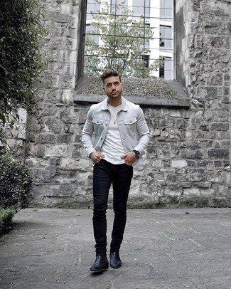 How to Wear Black Leather Chelsea Boots For Men: This combo of a grey shirt jacket and navy jeans is the perfect foundation for a great number of outfits. And if you need to instantly spruce up this look with footwear, why not complete this ensemble with black leather chelsea boots?