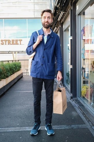 Blue Athletic Shoes Outfits For Men: Pair a blue shirt jacket with charcoal jeans for both dapper and easy-to-wear ensemble. Why not take a more laid-back approach with shoes and add blue athletic shoes to your getup?