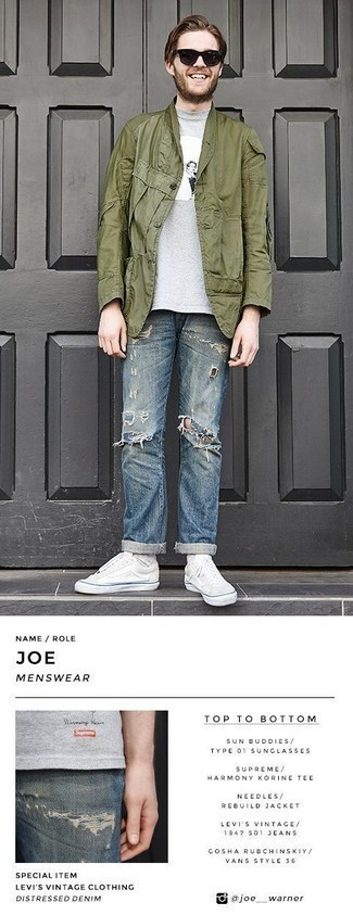 Blue Ripped Jeans Outfits For Men: If you're in search of a relaxed and at the same time dapper getup, choose an olive shirt jacket and blue ripped jeans. A pair of white canvas low top sneakers will be the ideal complement for your ensemble.