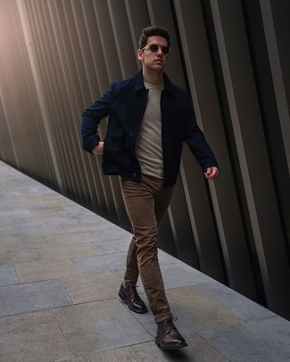 Dark Brown Leather Brogues Outfits: Why not wear a navy shirt jacket and brown jeans? Both items are super comfortable and look nice paired together. Hesitant about how to finish off your ensemble? Rock dark brown leather brogues to kick it up.