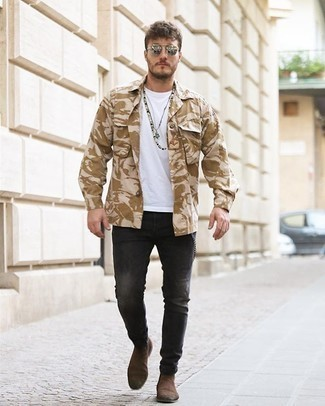 Beige Camouflage Shirt Jacket Outfits For Men: When comfort is a must, this combo of a beige camouflage shirt jacket and charcoal jeans is always a winner. If you need to instantly step up this ensemble with one single piece, why not complete this outfit with brown suede chelsea boots?