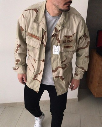 Men's Beige Camouflage Shirt Jacket, Grey Crew-neck T-shirt, Black Jeans, White and Green Canvas Low Top Sneakers