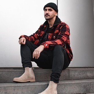 Tan Suede Chelsea Boots with Black Jeans Smart Casual Fall Outfits For Men: If the situation permits a casual ensemble, you can rely on a red and black check flannel shirt jacket and black jeans. Our favorite of a multitude of ways to round off this look is a pair of tan suede chelsea boots. So as you can see, it's very easy to look dapper and stay snug come fall, thanks to this ensemble.