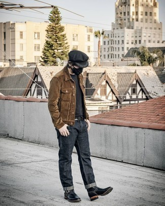 Flat Cap Outfits For Men: If you're a jeans-and-a-tee kind of dresser, you'll like this basic but casual and cool combination of a brown corduroy shirt jacket and a flat cap. A pair of black leather chelsea boots will give a classier twist to an otherwise all-too-common outfit.