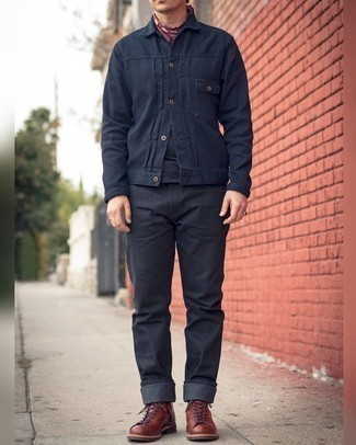Navy Shirt Jacket Outfits For Men: If the setting permits casual style, you can easily rock a navy shirt jacket and black jeans. We're totally digging how a pair of brown leather casual boots makes this ensemble complete.
