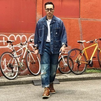 Brown Leather Casual Boots Outfits For Men: For effortless style without the need to sacrifice on functionality, we turn to this combo of a navy denim shirt jacket and navy patchwork jeans. Serve a little outfit-mixing magic by rounding off with brown leather casual boots.