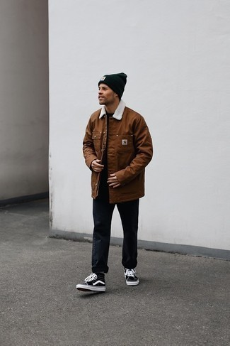Black Jeans with Brown Jacket Outfits For Men In Their 20s: To achieve a casual ensemble with a fashionable spin, you can dress in a brown jacket and black jeans. As for the shoes, you can follow the casual route with black and white canvas high top sneakers. This pairing proves that in your mid-20s your styling options are looking good.