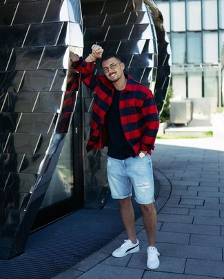 How to wear: red and navy check shirt jacket, black crew-neck t-shirt, light blue ripped denim shorts, white and black leather low top sneakers