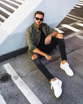 How to wear: olive shirt jacket, black crew-neck t-shirt, black ripped skinny jeans, white leather low top sneakers