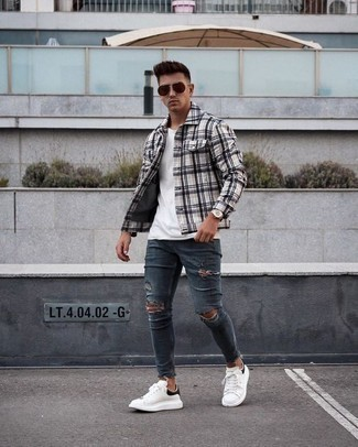 Navy Ripped Skinny Jeans Outfits For Men: This combo of a grey plaid shirt jacket and navy ripped skinny jeans is put together and yet it looks relaxed and ready for anything. Put an elegant spin on this look by rocking white and black leather low top sneakers.