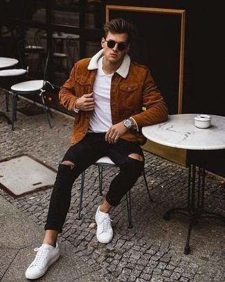 Jacket Relaxed Outfits For Men: Consider wearing a jacket and black ripped skinny jeans for equally dapper and easy-to-wear outfit. White canvas low top sneakers will add a strong and masculine feel to any getup.