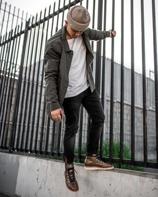 Black Ripped Skinny Jeans Outfits For Men: This street style combo of a charcoal shirt jacket and black ripped skinny jeans is very easy to put together without a second thought, helping you look awesome and ready for anything without spending a ton of time rummaging through your wardrobe. To give your overall outfit a more relaxed vibe, why not round off with brown leather work boots?