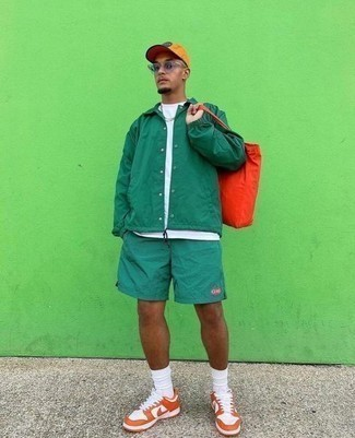 Socks Outfits For Men: This casual street style combination of a green shirt jacket and socks couldn't possibly come across as anything other than ridiculously dapper. Change up this getup with a smarter kind of shoes, like this pair of orange leather low top sneakers.