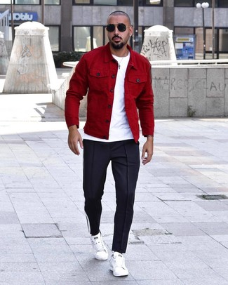 How to Wear Navy Sweatpants For Men: This combination of a red shirt jacket and navy sweatpants is an interesting balance between functional and stylish. If you're wondering how to finish, complement your ensemble with white leather low top sneakers.