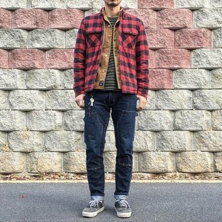 How to wear: red and black check shirt jacket, tan denim jacket, charcoal horizontal striped crew-neck t-shirt, navy jeans