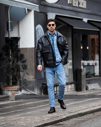 Blue Denim Shirt Outfits For Men: For an outfit that's very simple but can be modified in a multitude of different ways, try teaming a blue denim shirt with light blue jeans. Complete your outfit with a pair of black leather chelsea boots for a hint of elegance.