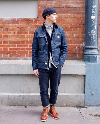 How to wear: navy denim shirt jacket, navy denim jacket, beige long sleeve shirt, grey long sleeve shirt