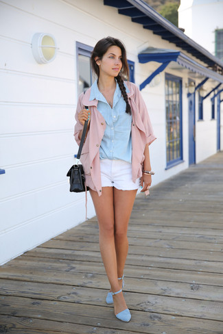 Pink Shirt Jacket Warm Weather Outfits For Women: Rock a pink shirt jacket with white denim shorts to achieve an interesting and current casual outfit. If you need to easily level up this getup with shoes, why not complete this ensemble with light blue suede heeled sandals?