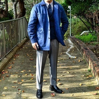 Blue Shirt Jacket Outfits For Men: Get into your sartorial beast mode in a blue shirt jacket and grey dress pants. The whole outfit comes together perfectly when you opt for a pair of black leather derby shoes.