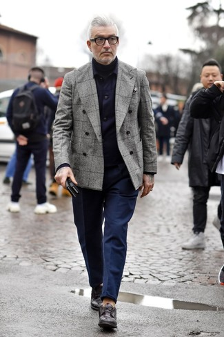 How to wear: navy shirt jacket, grey plaid double breasted blazer, black turtleneck, navy chinos