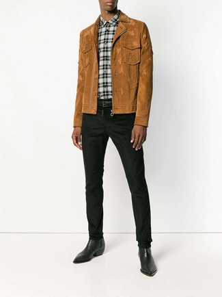 How to wear: tobacco suede shirt jacket, white and black plaid dress shirt, black chinos, black leather cowboy boots