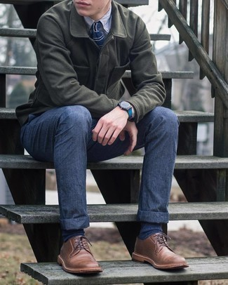 Brown Leather Derby Shoes Outfits: Pair an olive wool shirt jacket with navy chinos to assemble a casually stylish and modern-looking ensemble. Dial up this whole getup by slipping into a pair of brown leather derby shoes.
