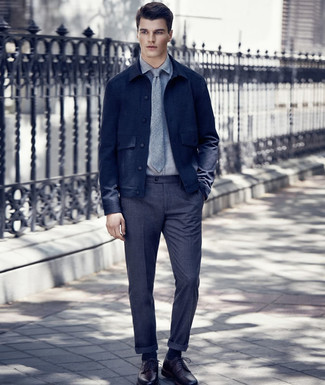 How to Wear Navy Socks For Men: A navy wool shirt jacket and navy socks are a nice combo to add to your day-to-day casual arsenal. Burgundy leather derby shoes are guaranteed to infuse a sense of elegance into this outfit.