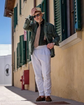 Suspenders Outfits: Marrying a dark green shirt jacket with suspenders is a good pick for a casual but seriously stylish look. Add dark brown suede tassel loafers to the equation for a major style upgrade.